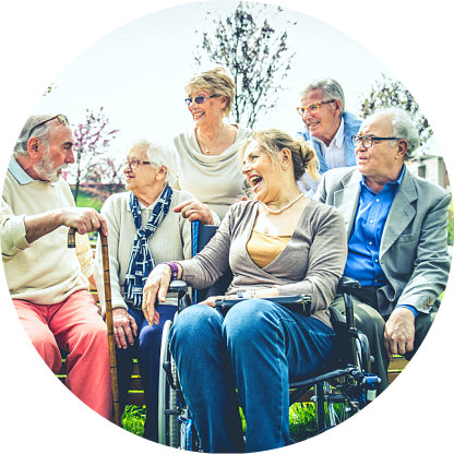 group of elderly men and women enjoyed talking